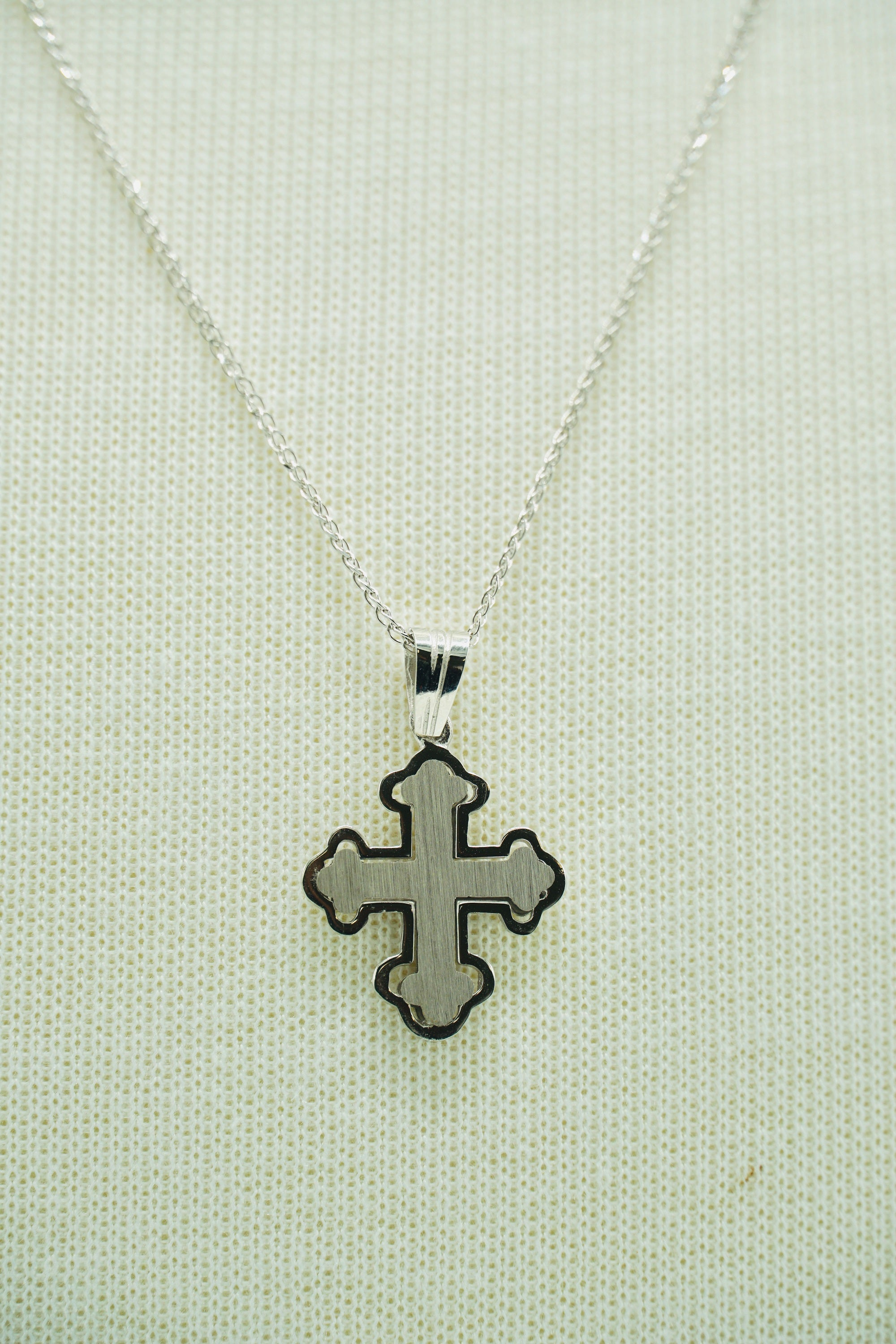 Byzantine White Gold Cross 14K