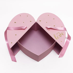 Pink Heart Shape Flower Box with Ribbon Opens From Middle Nested Heart