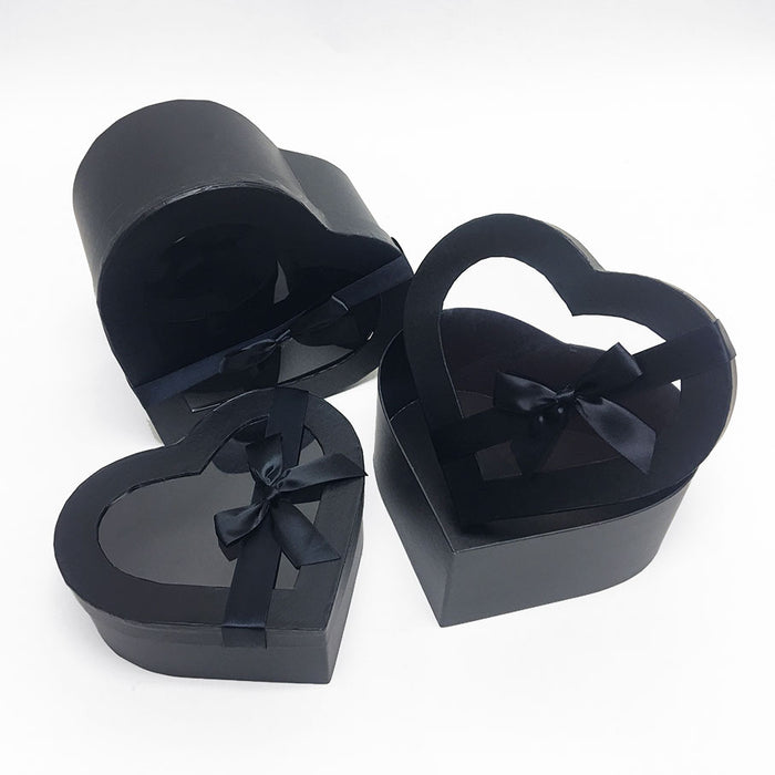 Black Heart Shape Flower Boxes Set of 3 With Ribbon