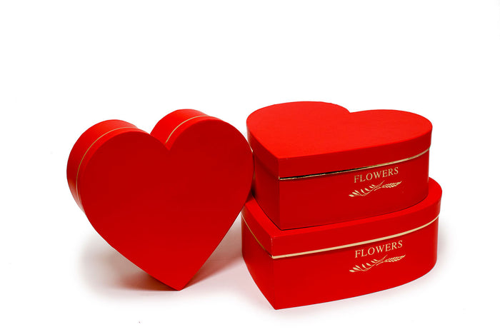 Red Royal Heart Shape Flower Boxes (Set of 3)