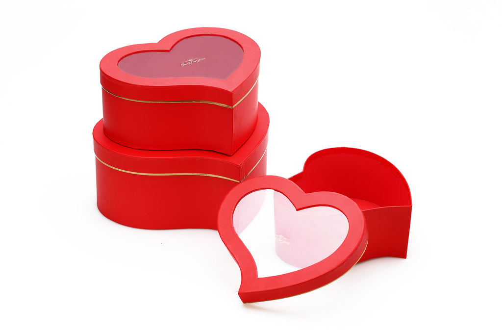 Red Heart Shape Flower Boxes With Window Set of 3