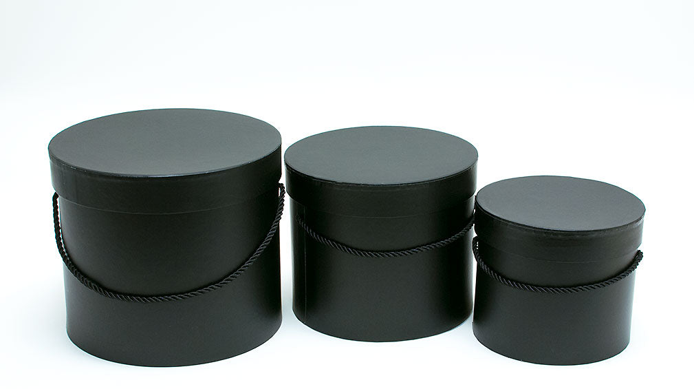 Black Round Flower Paper Box with Lid Set of 3 (S/M/L)