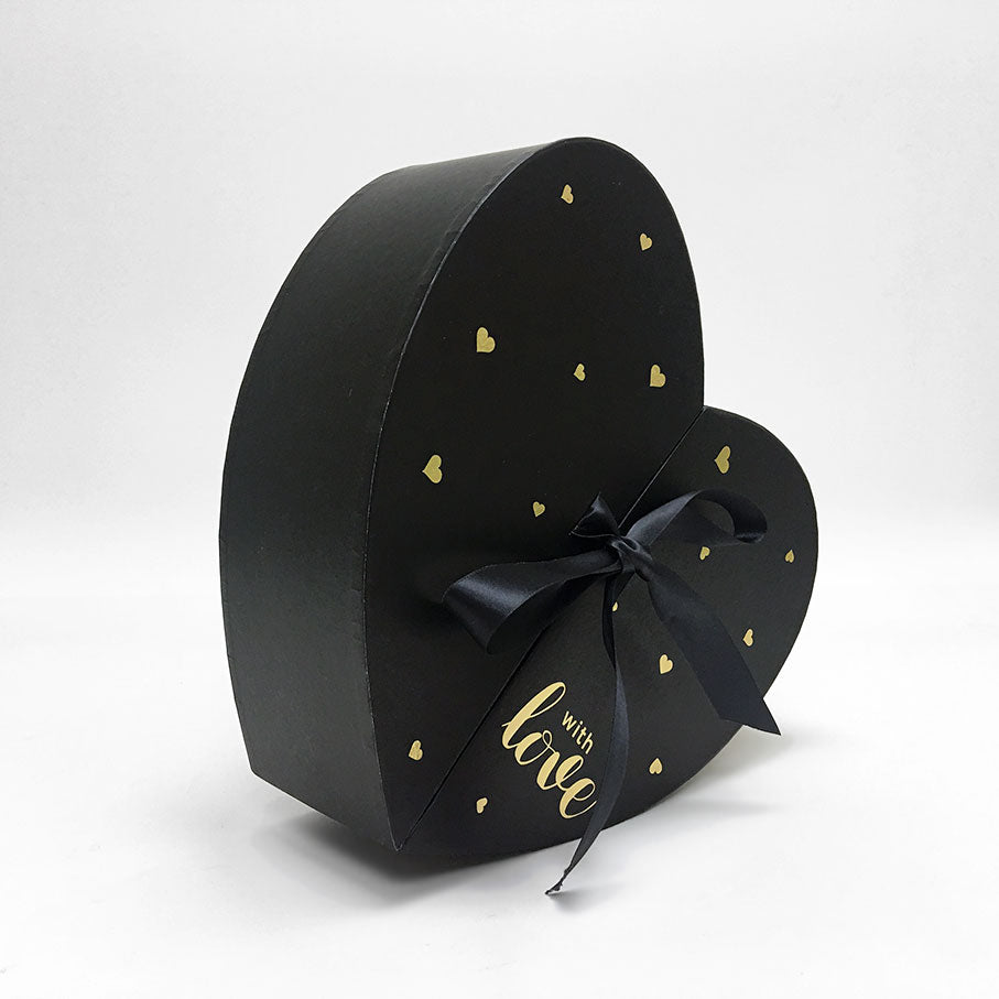 Black Heart Shape Flower Box with Ribbon Opens From Middle Nested Heart