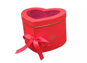Red Heart Shape Flower Box with Window Lid