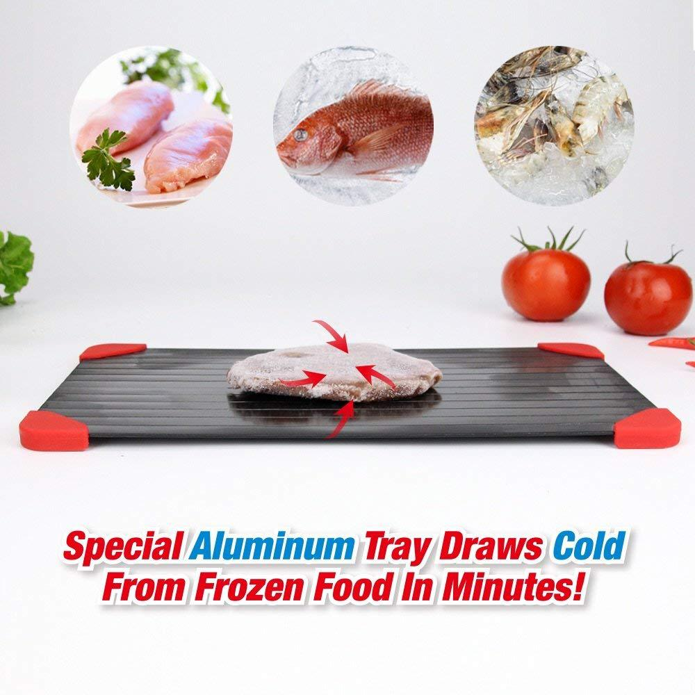Quick Thaw Defrost Tray Aluminium Rapid Meat /& Poultry Defrosting Plate Thawing