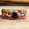 Leather Wrap Bracelets with Natural Stone Amethysts Crystals bracelets - dilibeads