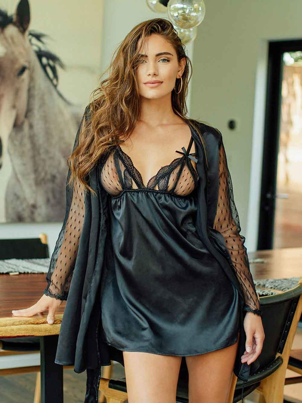 3 Piece Satin and Mesh Robe Set - Youmita Lingerie