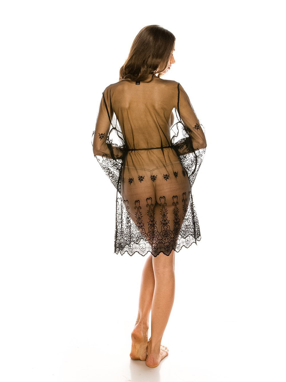 Mesh Robe with Embroidered Sleeves - Youmita Lingerie