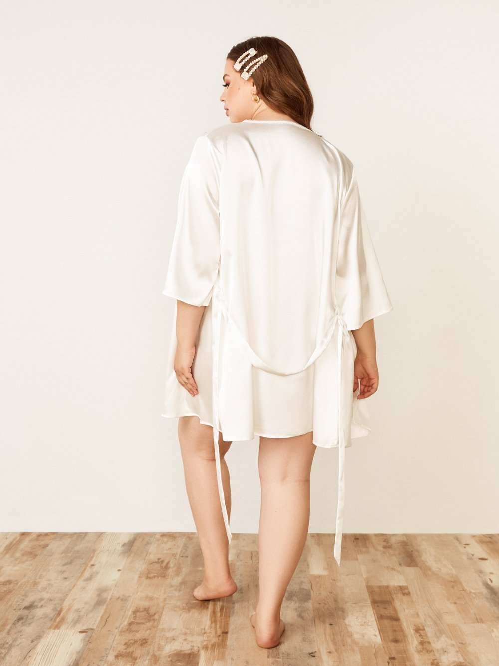 Lace Trim Robe - Youmita Lingerie