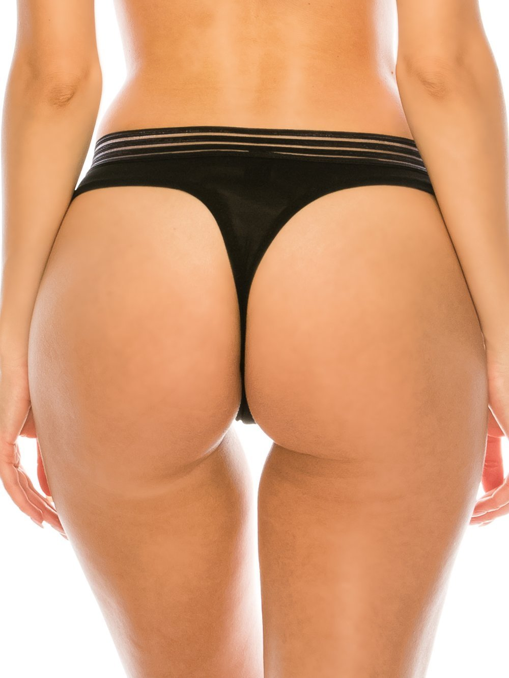 Sheer Thong with Elastic Mesh Band - Youmita Lingerie