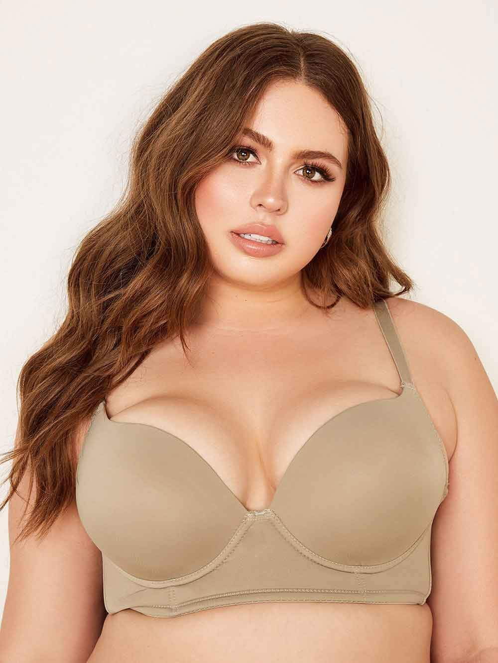 Curve Solid Push Up Plunge Bra - Youmita Lingerie