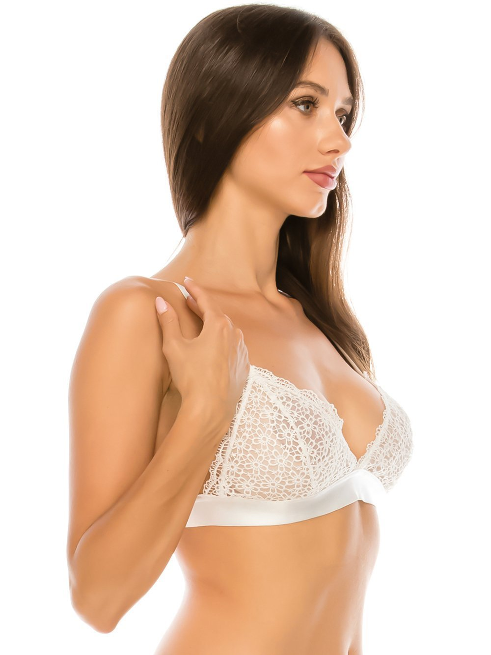 Triangle Bralette with Floral Embroidered Lace - Youmita Lingerie