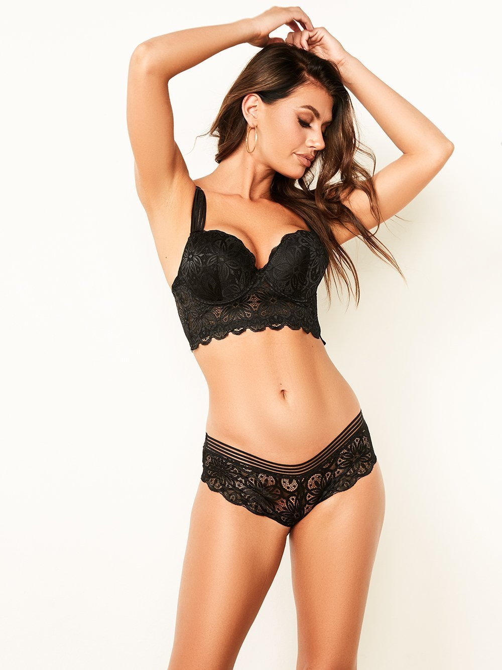 Long Line Lace Bra with Mesh Straps - Youmita Lingerie