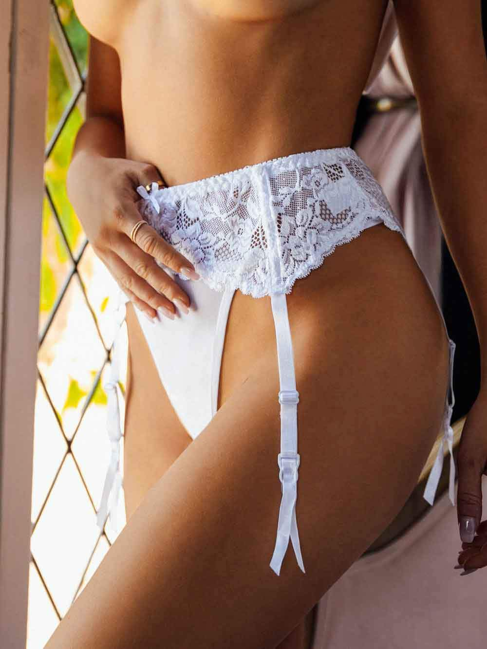 Bridal Short Lace Garter Belt - Youmita Lingerie