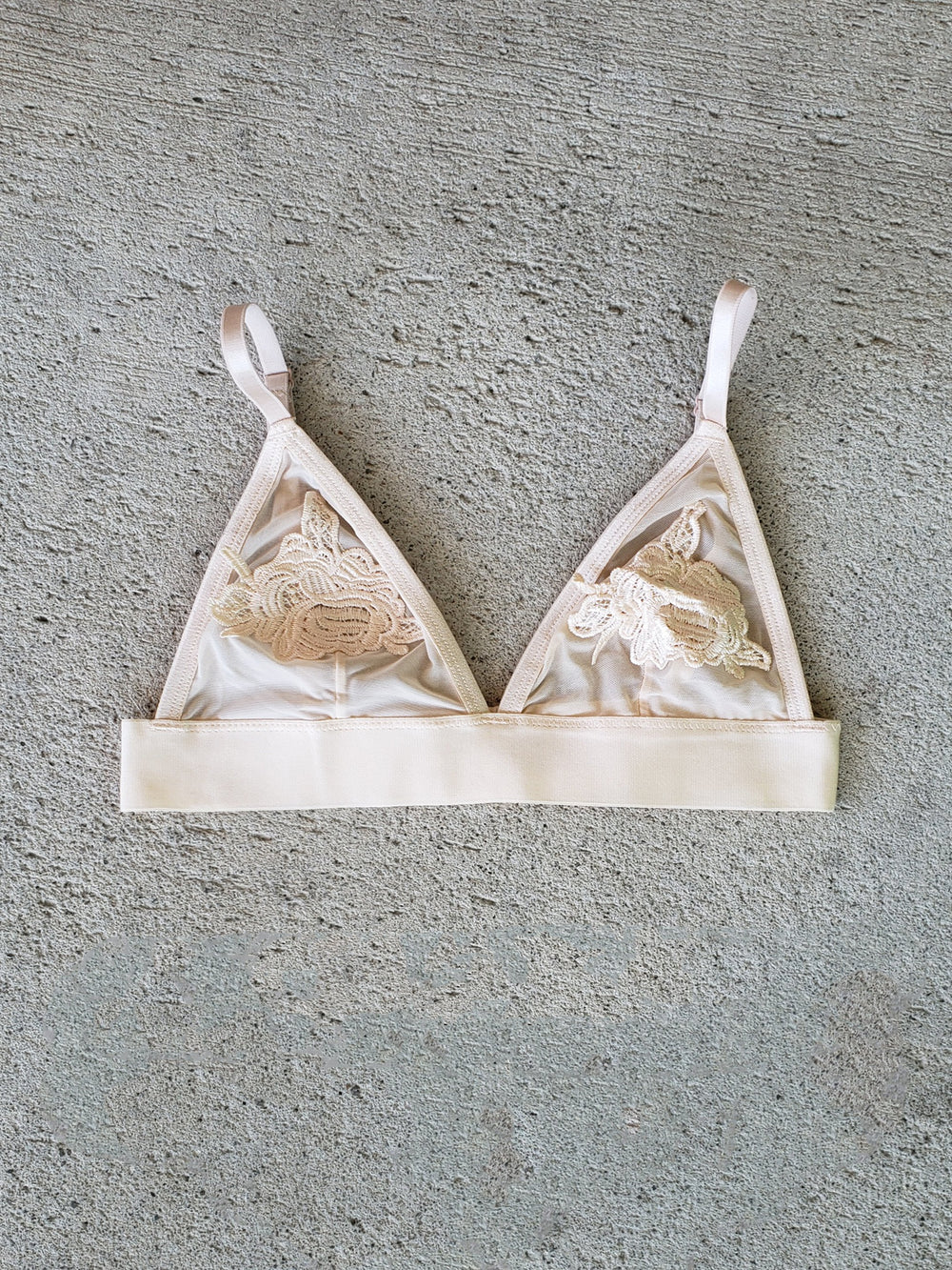 Bridal Embroidery & Sheer Elastic Band Bralette - Youmita Lingerie
