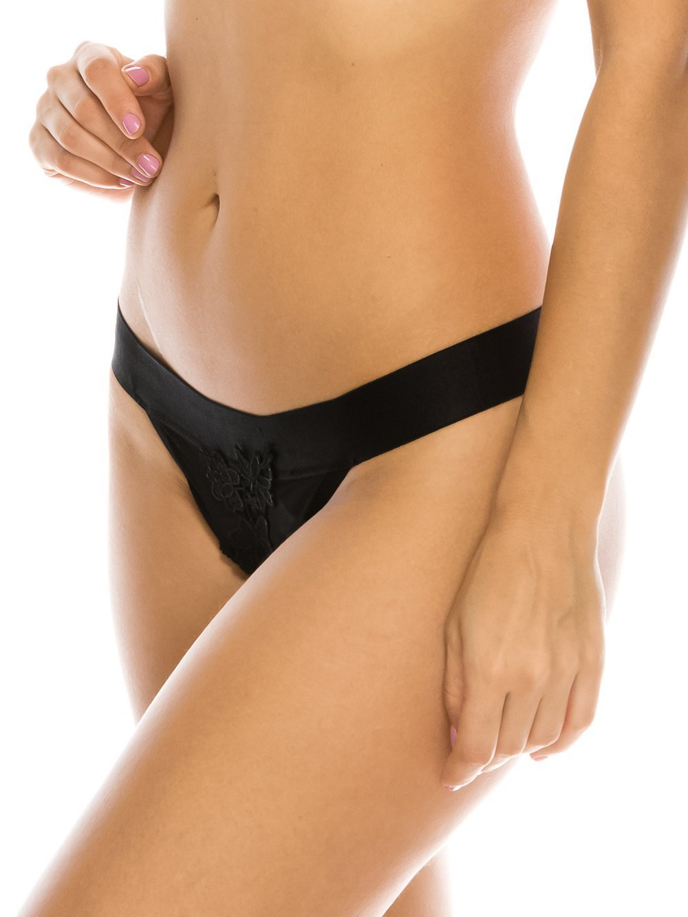 Sheer & Floral Embroidery Thong - Youmita Lingerie