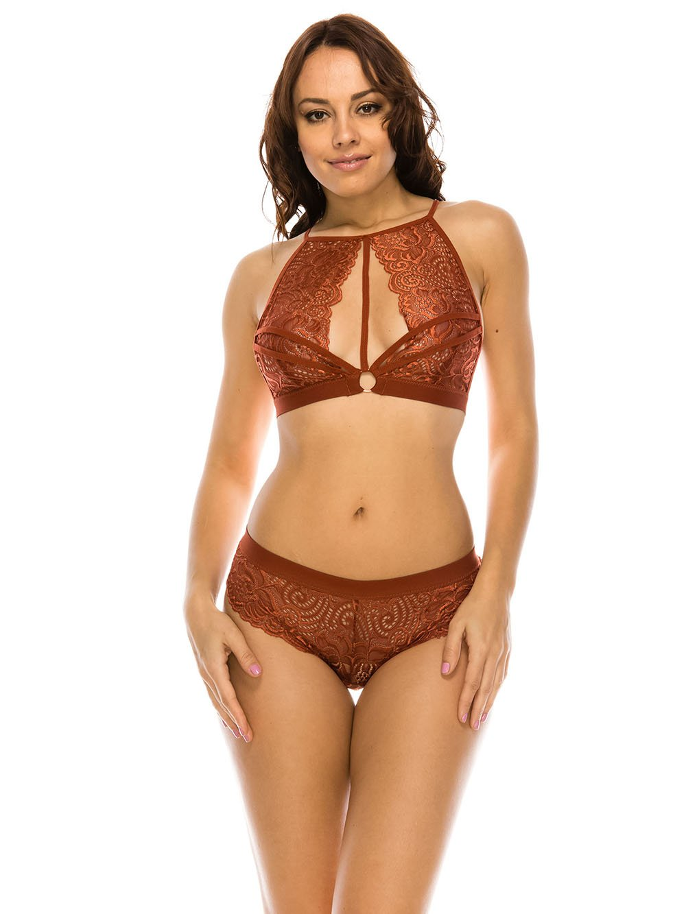 Lace High Neck Bralette - Youmita Lingerie