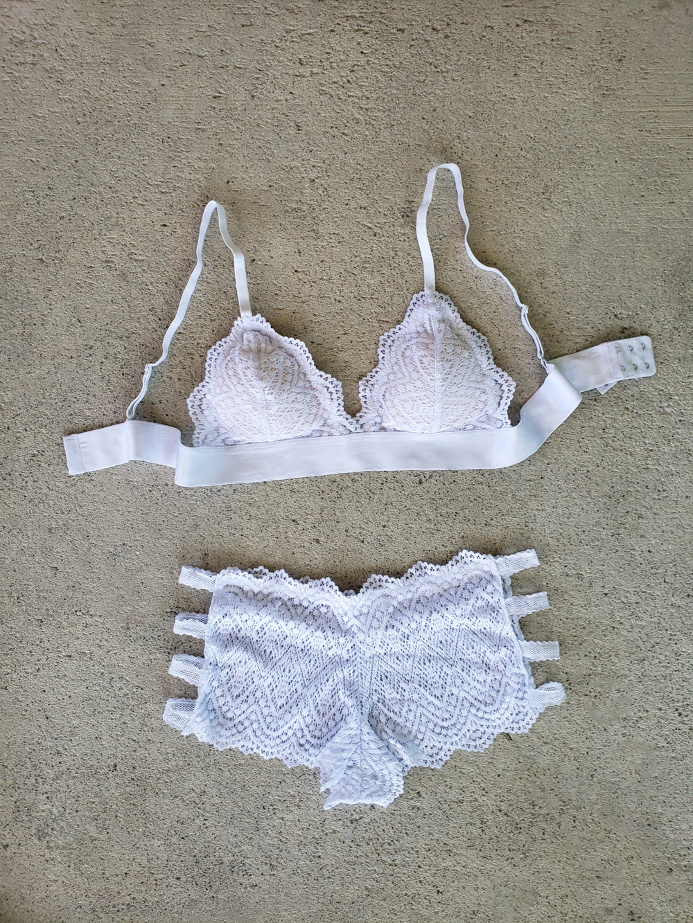 Bridal Triangle Lace Bralette with Band - Youmita Lingerie
