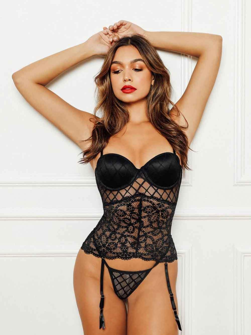 Lace Bustier w/ Garter & Thong - Youmita Lingerie