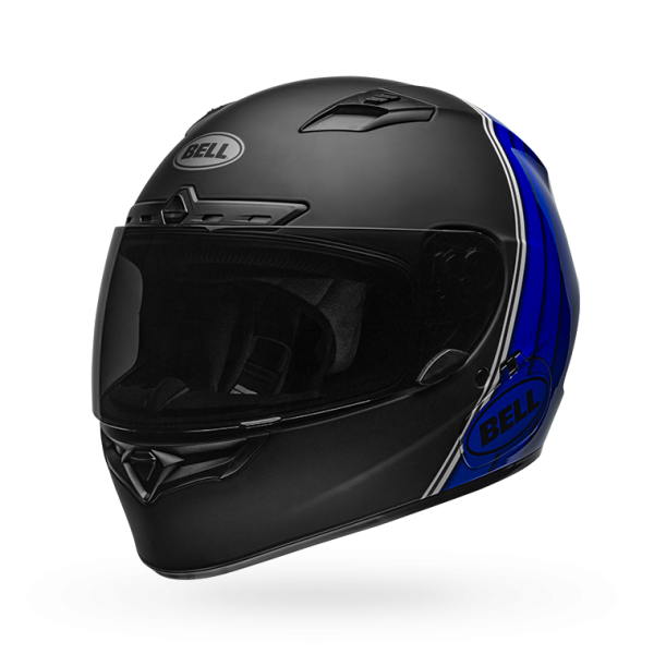 Bell Qualifier DLX Mips-Equipped Illusion Matte/Gloss Black/Blue/White Helmet