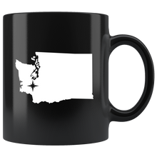 Load image into Gallery viewer, Washington Coffee Mug - Black 11oz. - WA - MissionMint