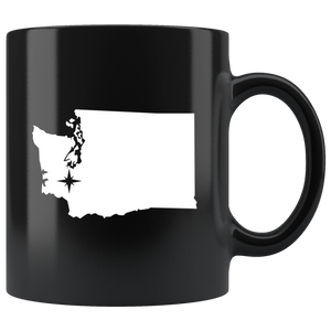 Washington Coffee Mug - Black 11oz. - WA - MissionMint