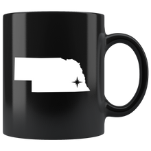 Load image into Gallery viewer, Nebraska Coffee Mug - Black 11oz. - NE - MissionMint
