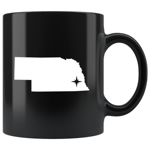 Nebraska Coffee Mug - Black 11oz. - NE - MissionMint