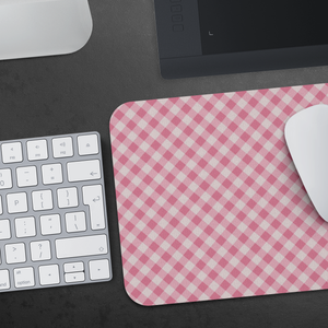 Mouse Pad Pink Gingham Pattern - MissionMint