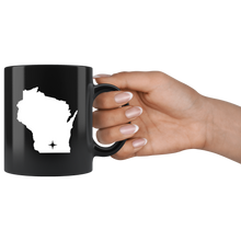 Load image into Gallery viewer, Wisconsin Coffee Mug - Black 11oz. - WI - MissionMint