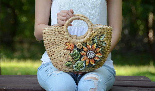 Sunflower Hand-drawn Mini Straw Bag - MissionMint