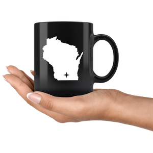 Wisconsin Coffee Mug - Black 11oz. - WI - MissionMint