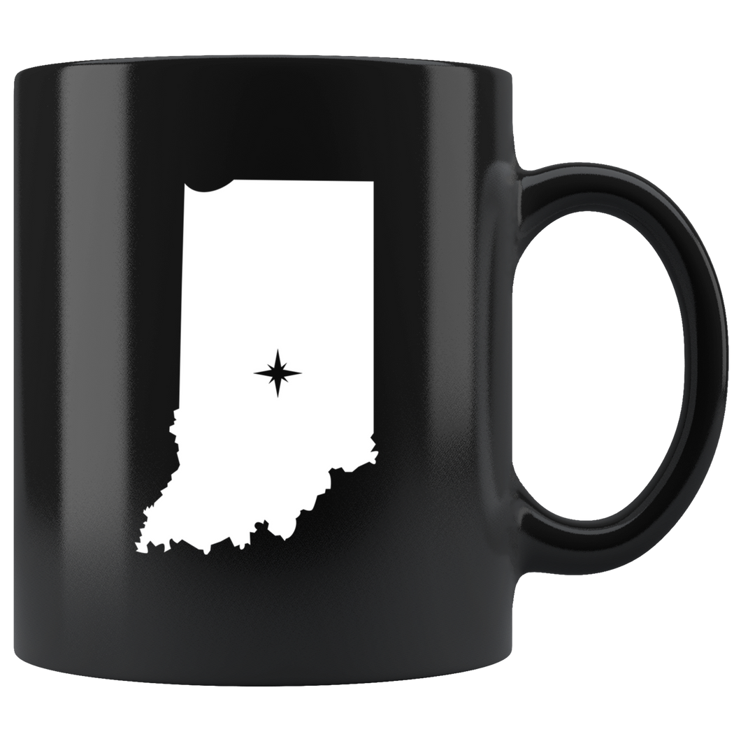 Indiana Coffee Mug - Black 11oz. - IN - MissionMint