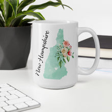 Load image into Gallery viewer, New Hampshire NH Map Floral Coffee Mug - White