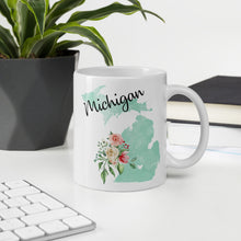 Load image into Gallery viewer, Michigan MI Map Floral Coffee Mug - White