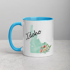 Idaho ID Map Floral Mug - 11 oz