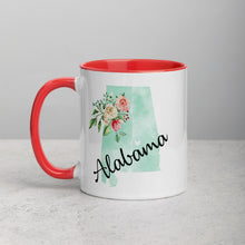 Load image into Gallery viewer, Alabama AL Map Floral Mug - 11 oz