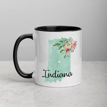 Load image into Gallery viewer, Indiana IN Map Floral Mug - 11 oz