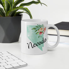 Load image into Gallery viewer, Nevada NV Map Floral Coffee Mug - White