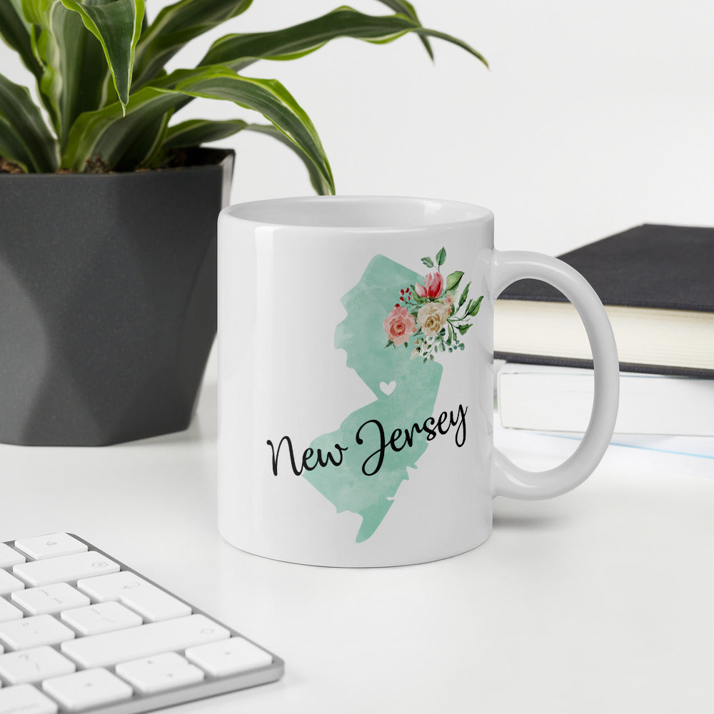 New Jersey NJ Map Floral Coffee Mug - White