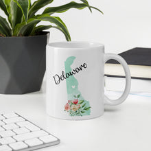 Load image into Gallery viewer, Delaware DE Map Floral Coffee Mug - White