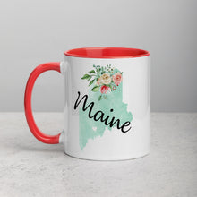 Load image into Gallery viewer, Maine ME Map Floral Mug - 11 oz