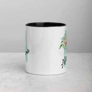 Alabama AL Map Floral Mug - 11 oz