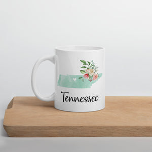 Tennessee TN Map Floral Coffee Mug - White