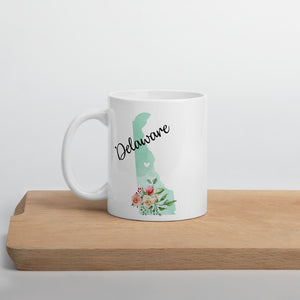 Delaware DE Map Floral Coffee Mug - White