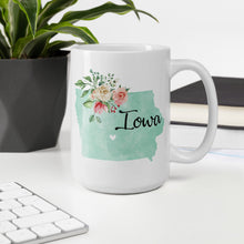 Load image into Gallery viewer, Iowa IA Map Floral Coffee Mug - White