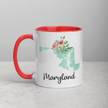 Load image into Gallery viewer, Maryland MD Map Floral Mug - 11 oz