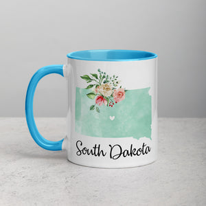 South Dakota SD Map Floral Mug - 11 oz