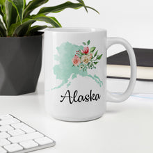 Load image into Gallery viewer, Alaska AK Map Floral Coffee Mug - White