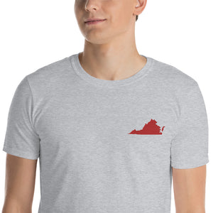 Virginia Unisex T-Shirt - Red Embroidery